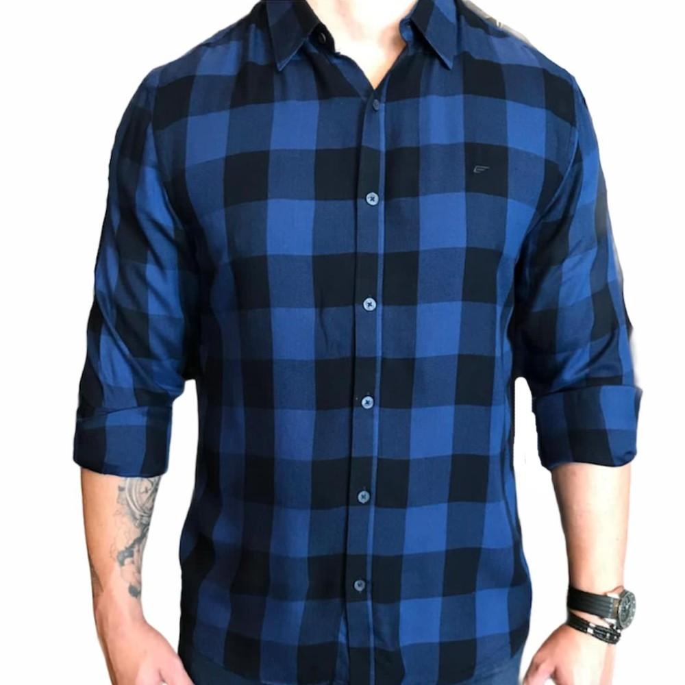 Camisa Ellus manga longa xadrez azul