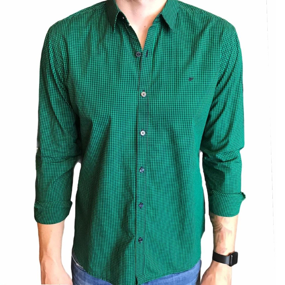 Camisa Ellus manga longa xadrez micro verde