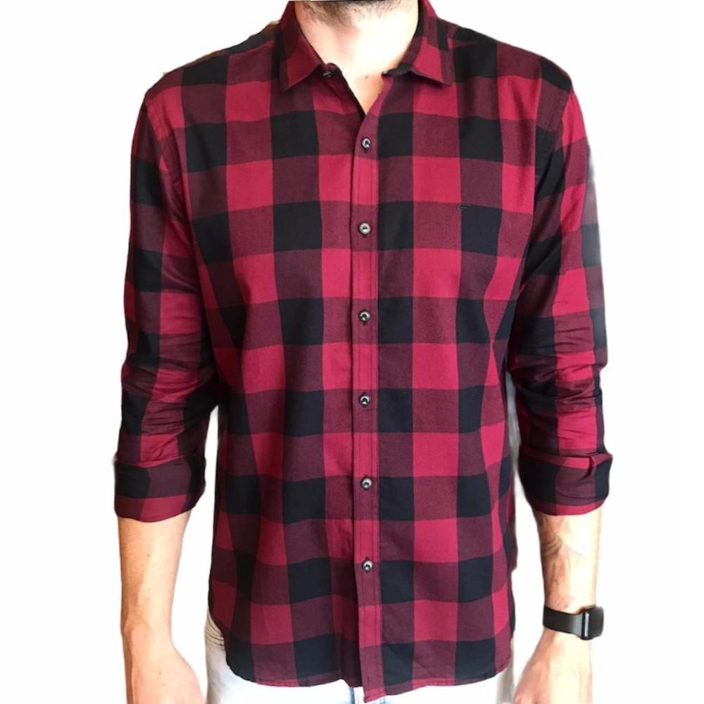 Camisa Ellus manga longa xadrez vermelho