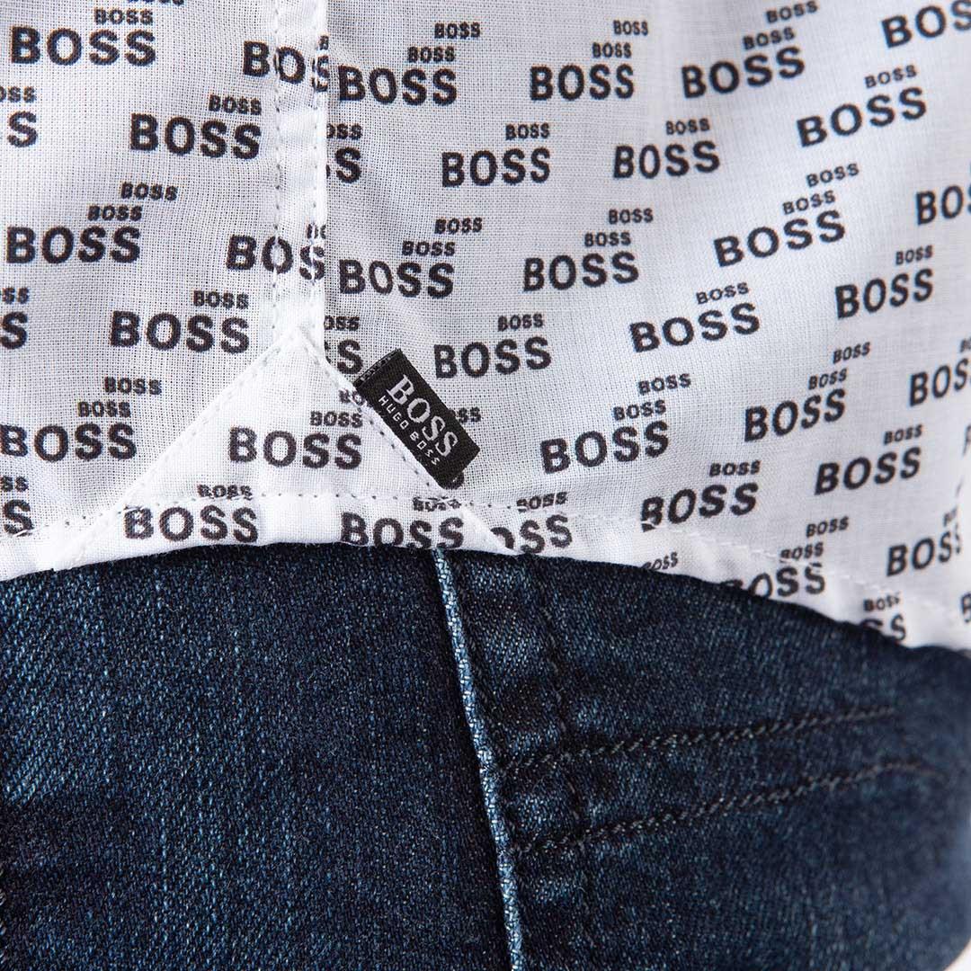 Camisa Hugo Boss Estampada Manga Longa Slim