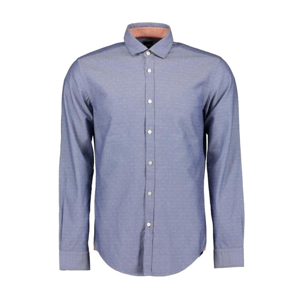 Camisa Hugo Boss Slim Fit Azul Com Acabamento Em Contraste
