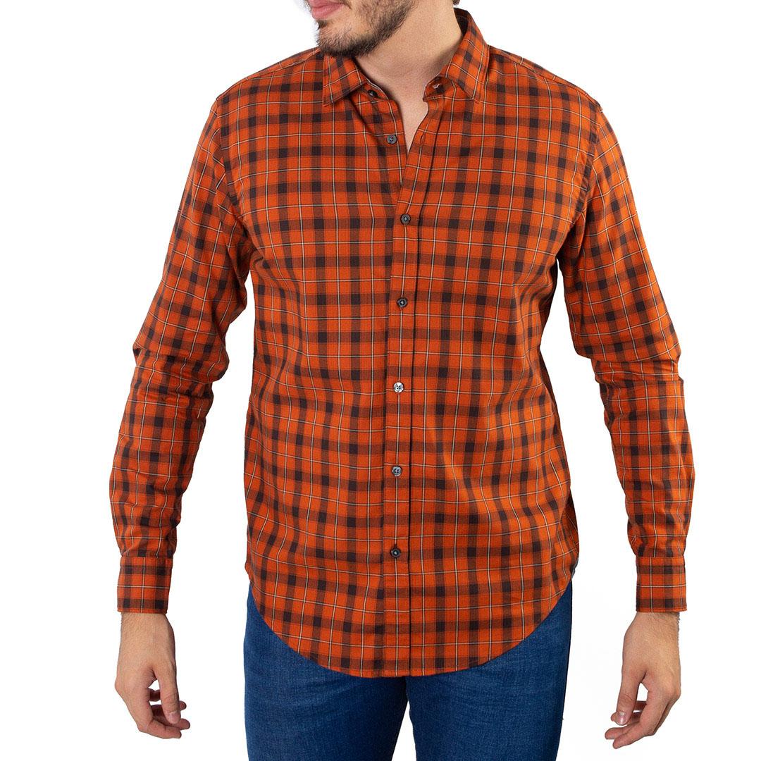 Camisa Hugo Boss Xadrez Manga Longa
