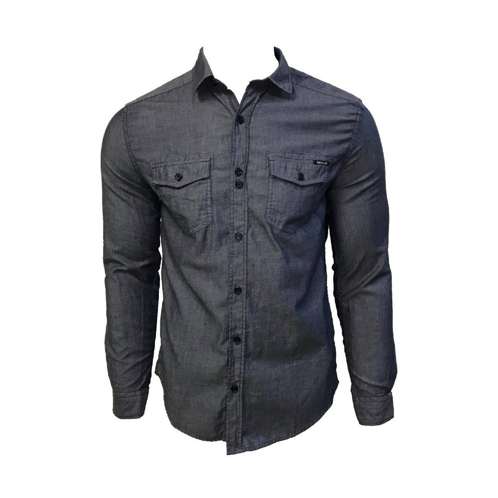 Camisa Jeans Replay Manga Longa Blue Medio