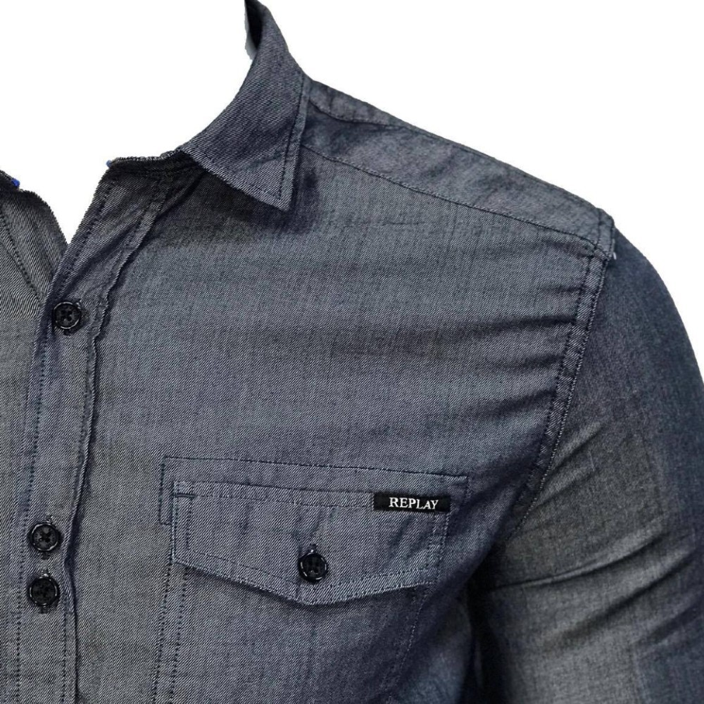 Camisa Jeans Replay Manga Longa Blue Medio
