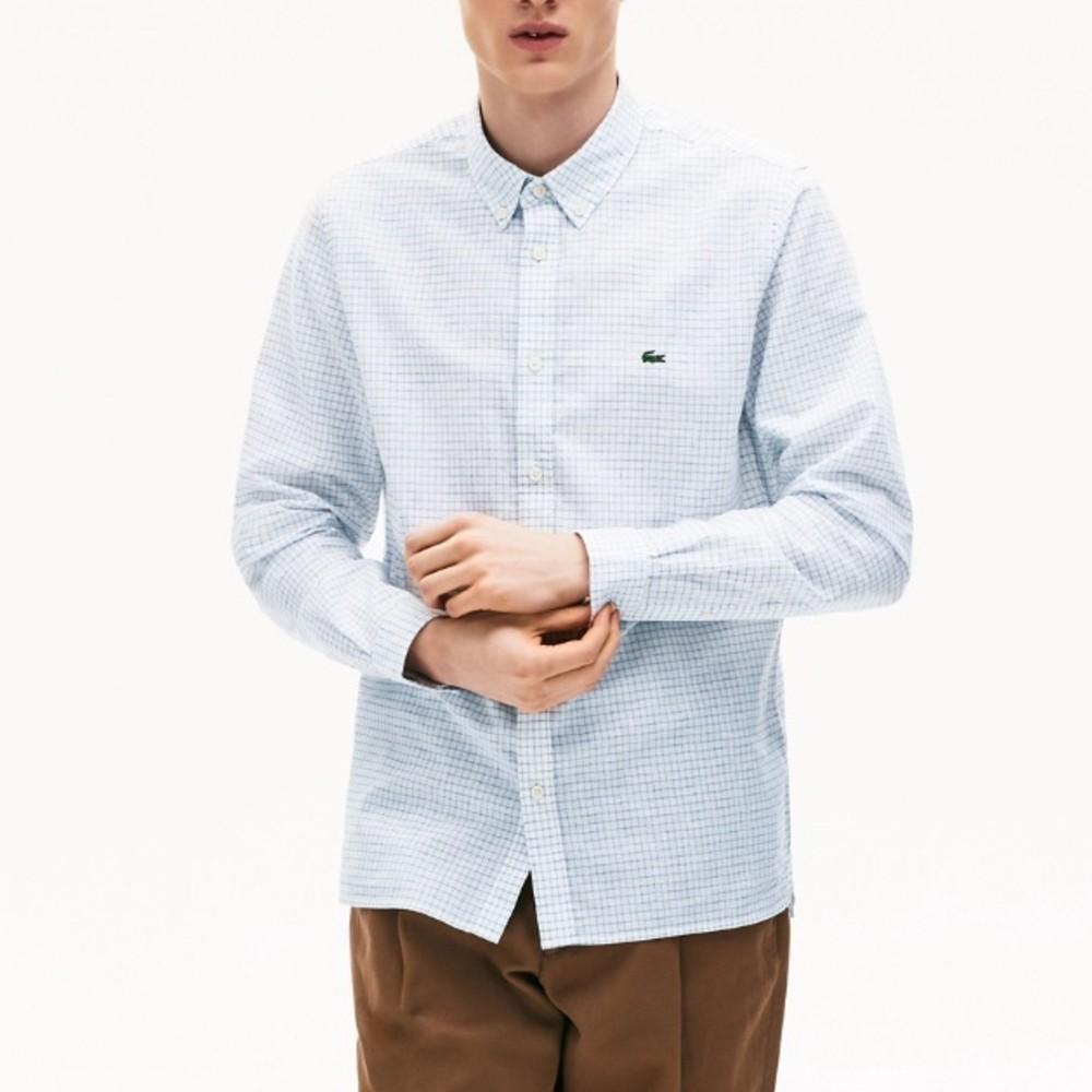 Camisa Lacoste masculina xadrez com mistura de algodão e linho