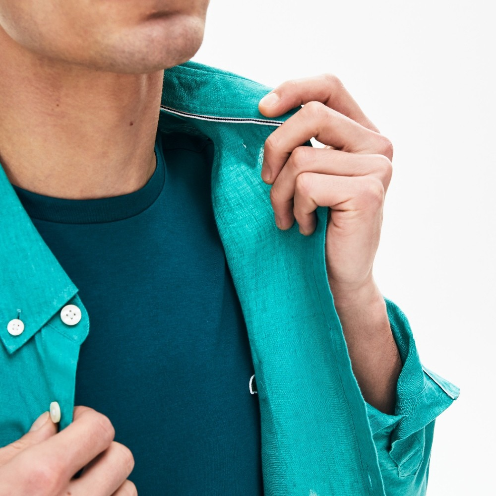 Camisa Lacoste  Regular Fit Masculina em Linho