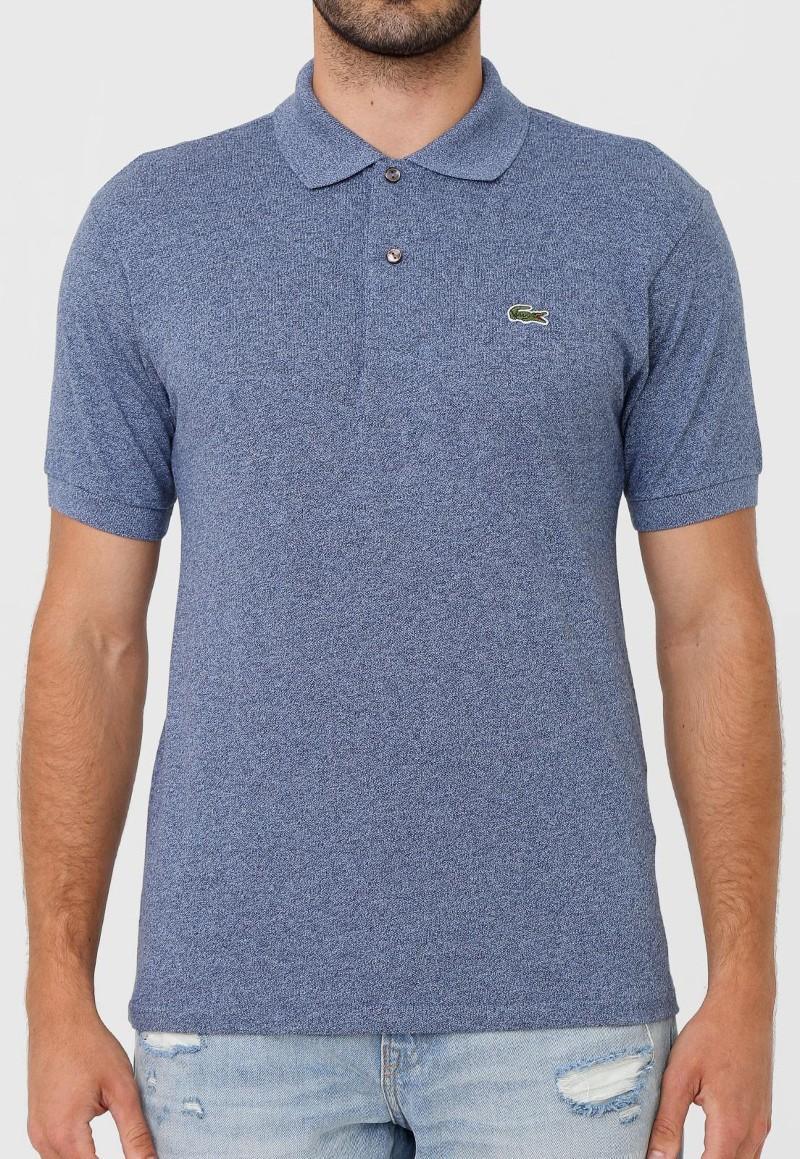 Camisa Polo Lacoste Reta Logo Azul