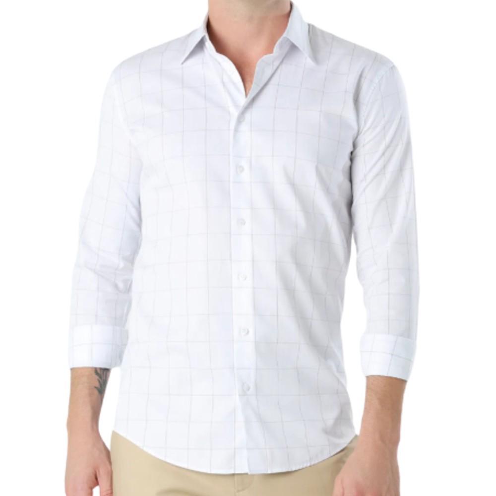 Camisa Ricardo Almeida Downtown quadriculada branca