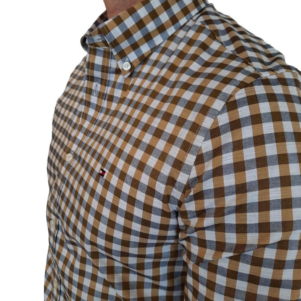 Camisa Tommy Hilfiger Xadrez Amarela Manga Longa