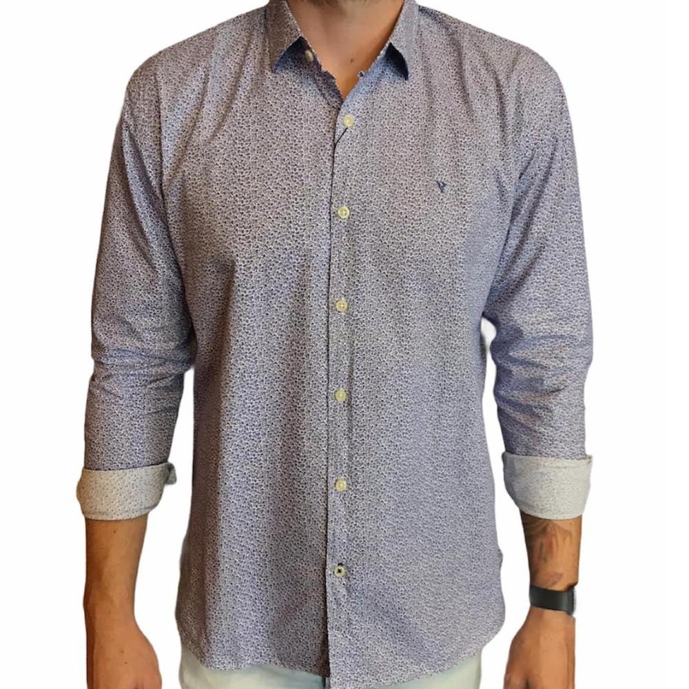 camisa Vr manga longa micro estampada