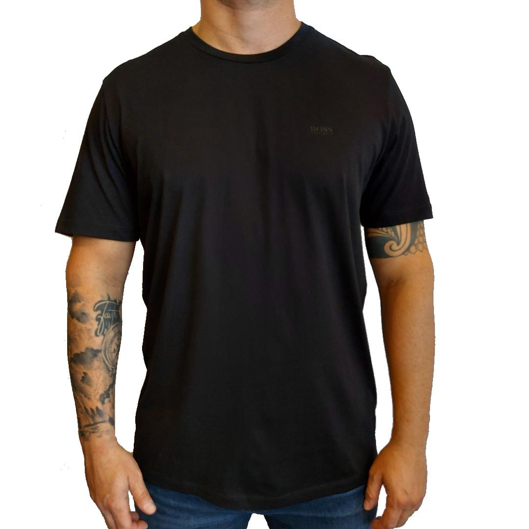 Camiseta Hugo Boss com decote redondo em jersey simples tingido com fios