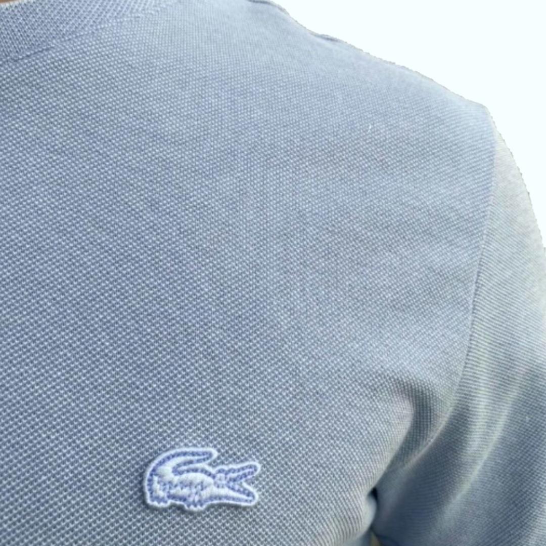 Camiseta Lacoste masculina em piqué de algodão com decote careca