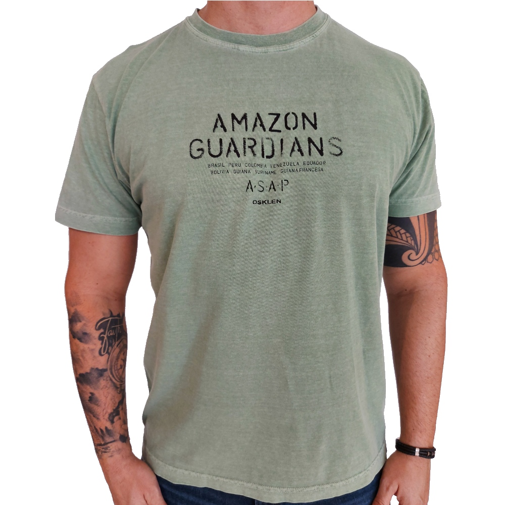 Camiseta Osklen Stone Amazon Tag Manga Curta