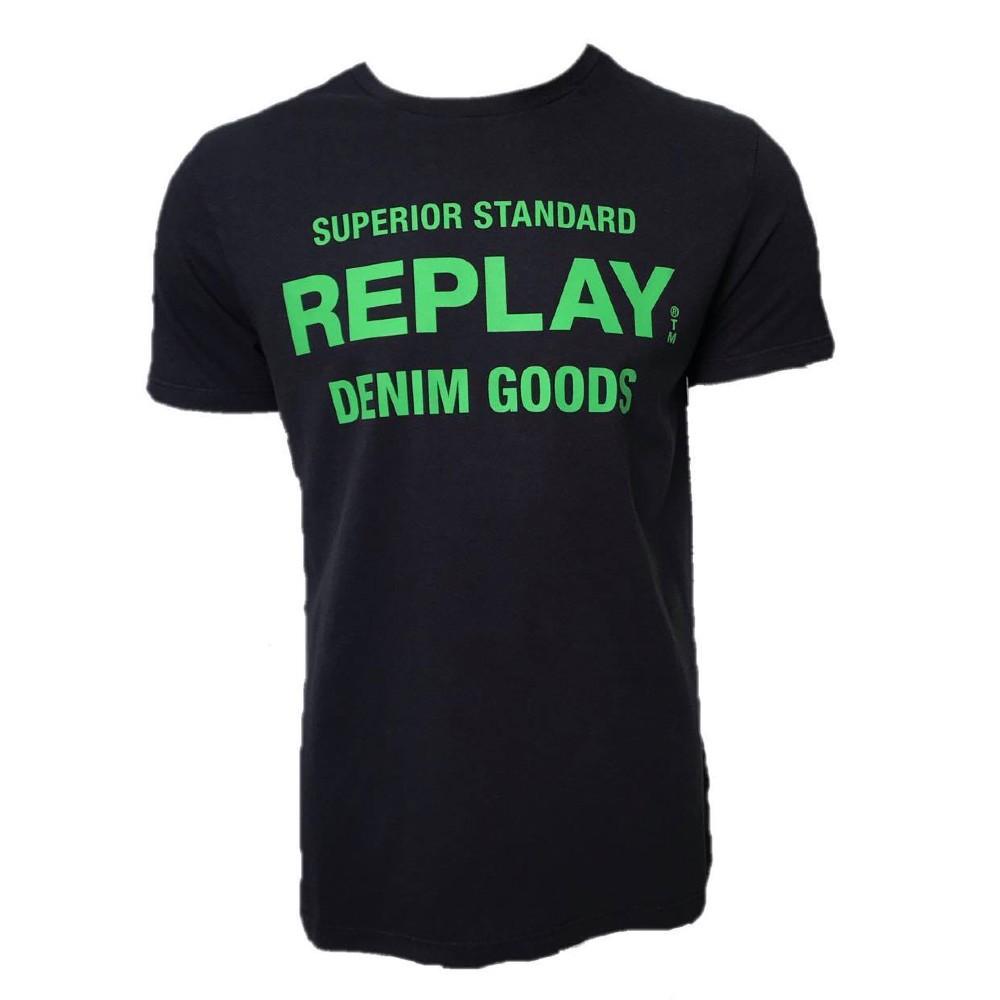 Camiseta Replay azul marinho estampa neon