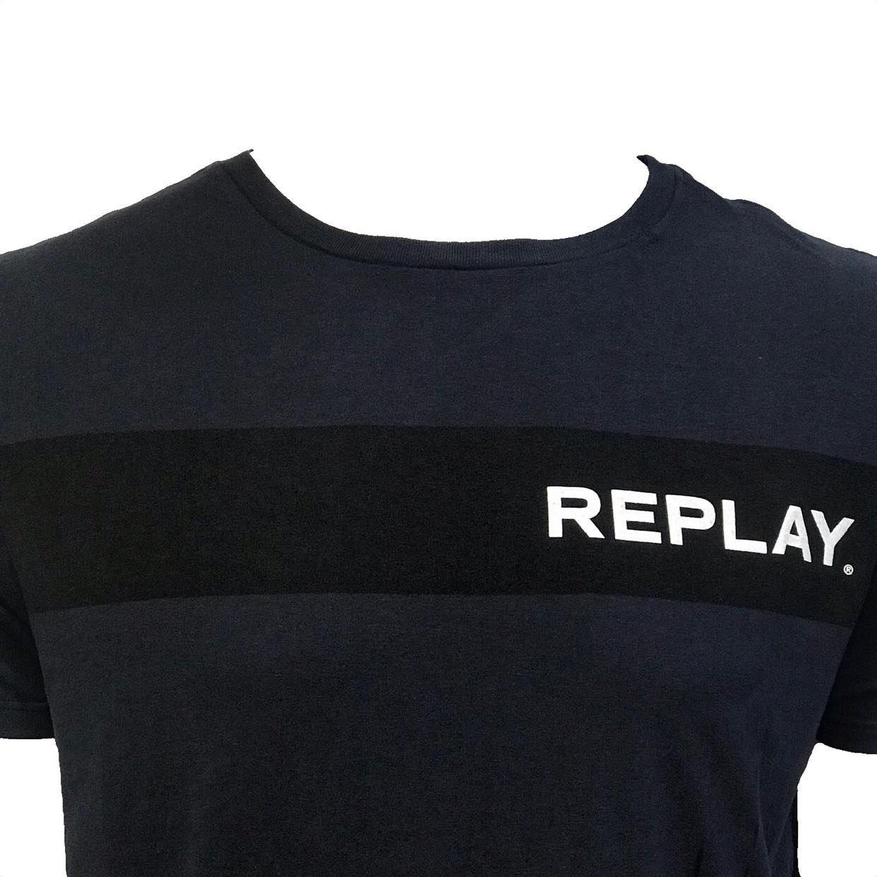 Camiseta Replay Institucional Básica Azul Marinho
