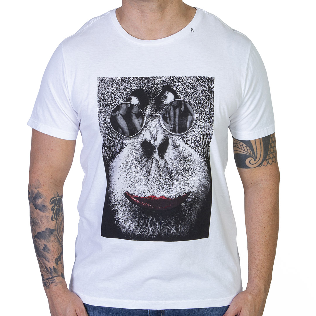 Camiseta Replay Macaco - Branca