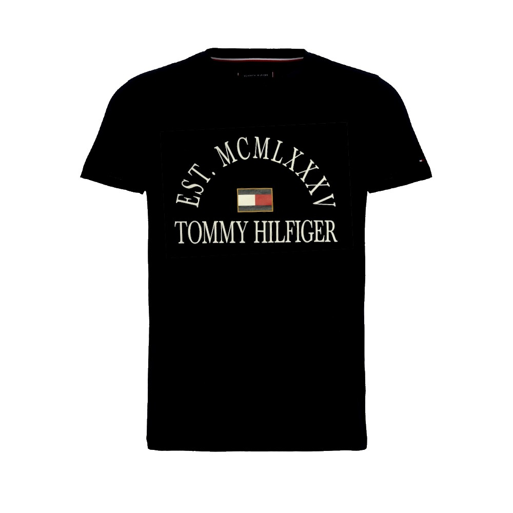 Camiseta tommy hilfiger ab college flag relaxed fit tee preta