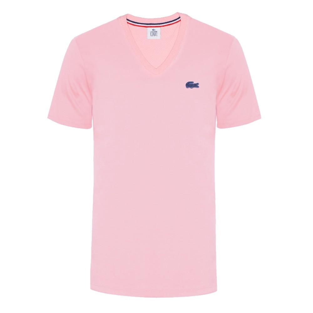 Camiseta unissex decote V Lacoste LIVE em jérsei de algodão