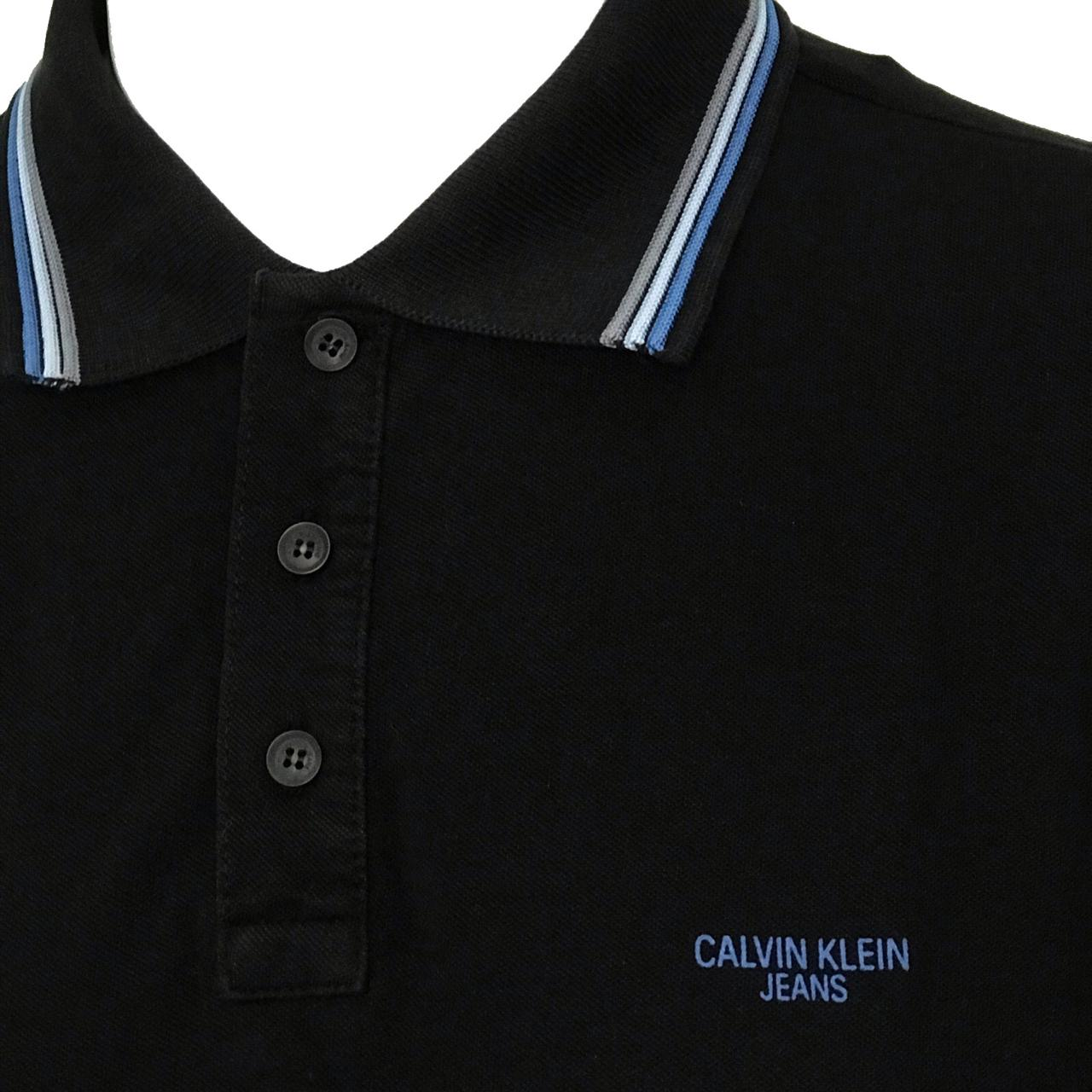 Polo Calvin Klein Jeans Manga Curta Em Piquet, Gola E Punhos De Retilínea