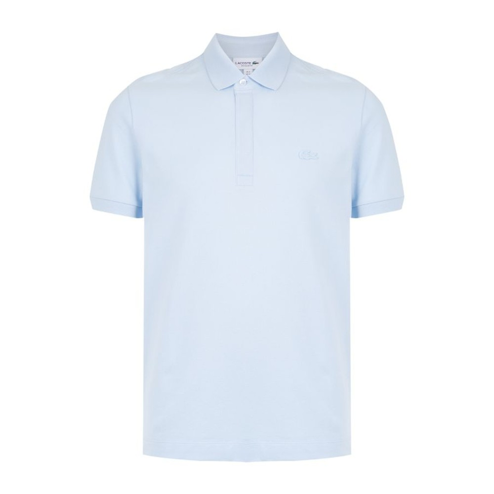 Polo Lacoste Paris Regular Fit Masculina Azul Clara