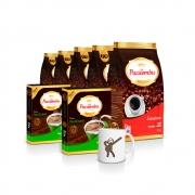 Kit com 5 Pacotes de Café Pacaembu Extra Forte Pouch 500 Gramas + 2 Filtros Permanente e ganhe 1 caneca