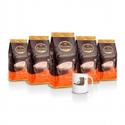 Kit com 5 Pacotes de Cappuccino Tradicional Pacaembu 1kg e ganhe 1 caneca
