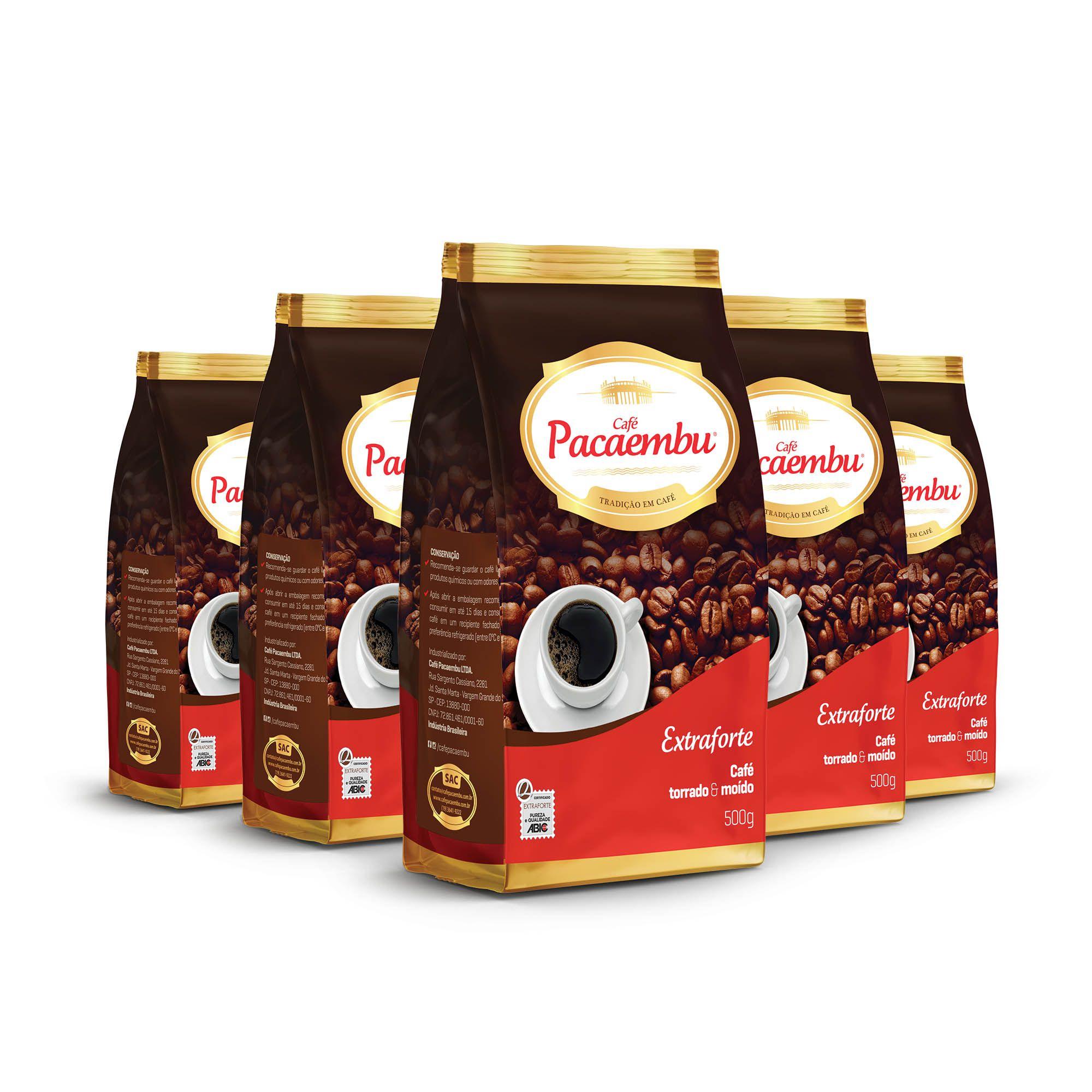 Kit com 5 Pacotes de Café Pacaembu Extra Forte  Pouch 500 Gramas
