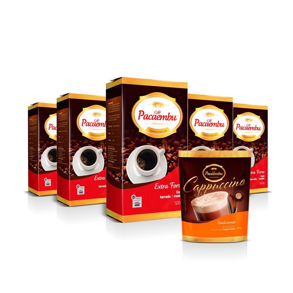 Kit com 5 Pacotes de Café Pacaembu Forte Vácuo 500G e ganhe 1 Cappuccino Tradicional Sachê 100 G