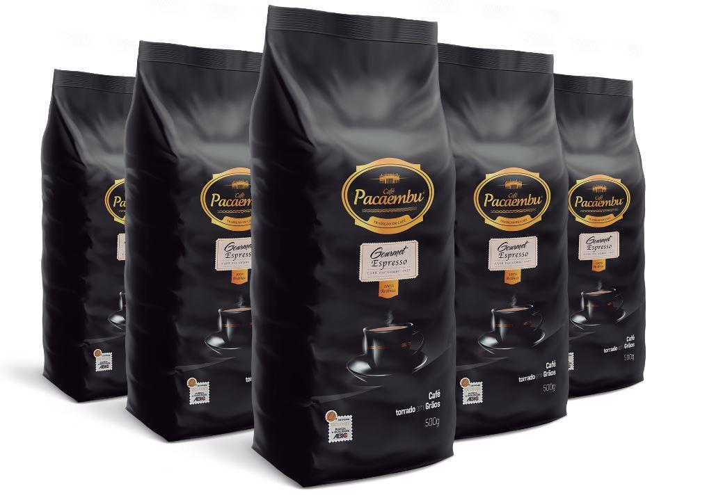 Kit com 5 Pacotes de Café Pacaembu Gourmet em Grãos 500g