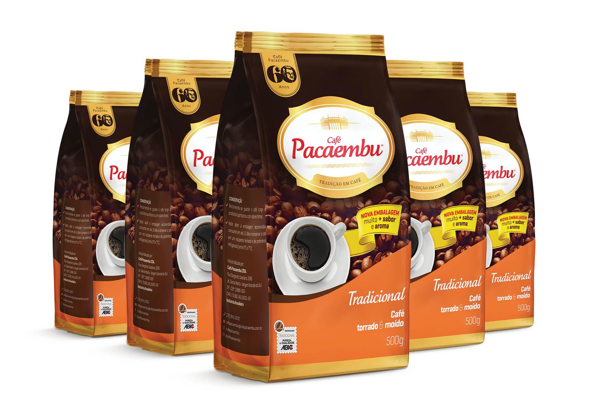 Kit com 5 Pacotes de Café Pacaembu Tradicional  Pouch 500 Gramas