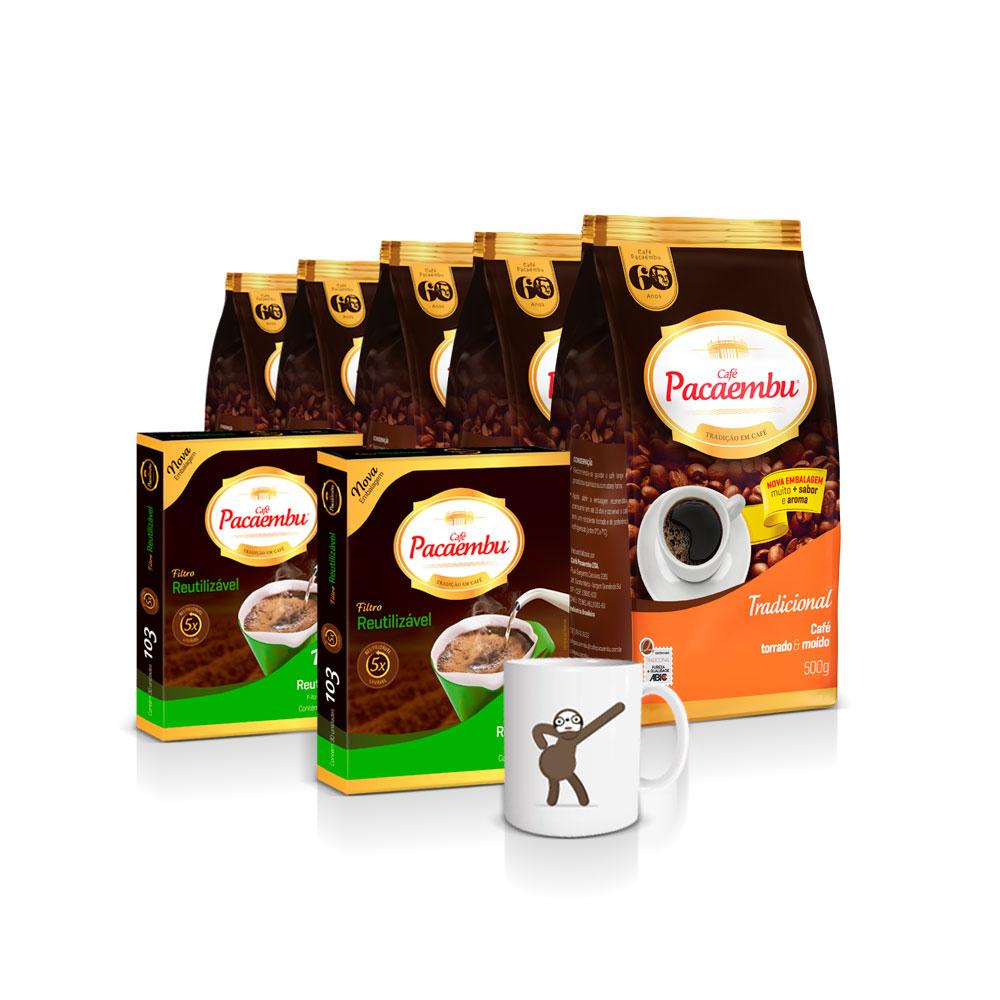 Kit com 5 Pacotes de Café Pacaembu Tradicional Pouch 500 Gramas + 2 Filtros Permanente e ganhe 1 caneca