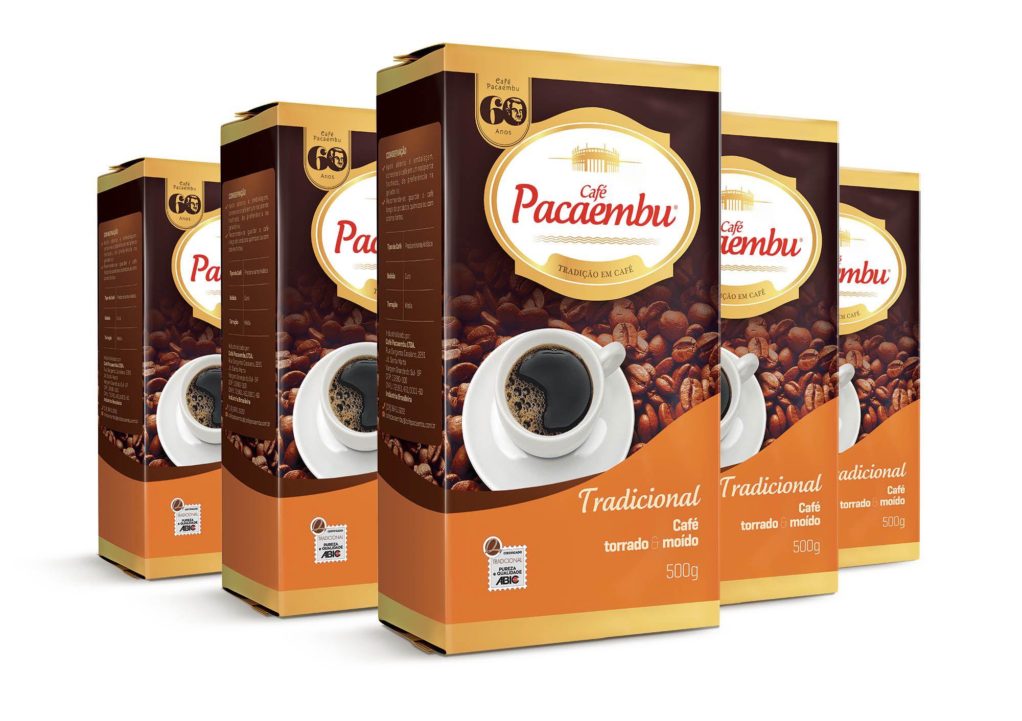 Kit com 5 Pacotes de Café Pacaembu Tradicional Vácuo 500G