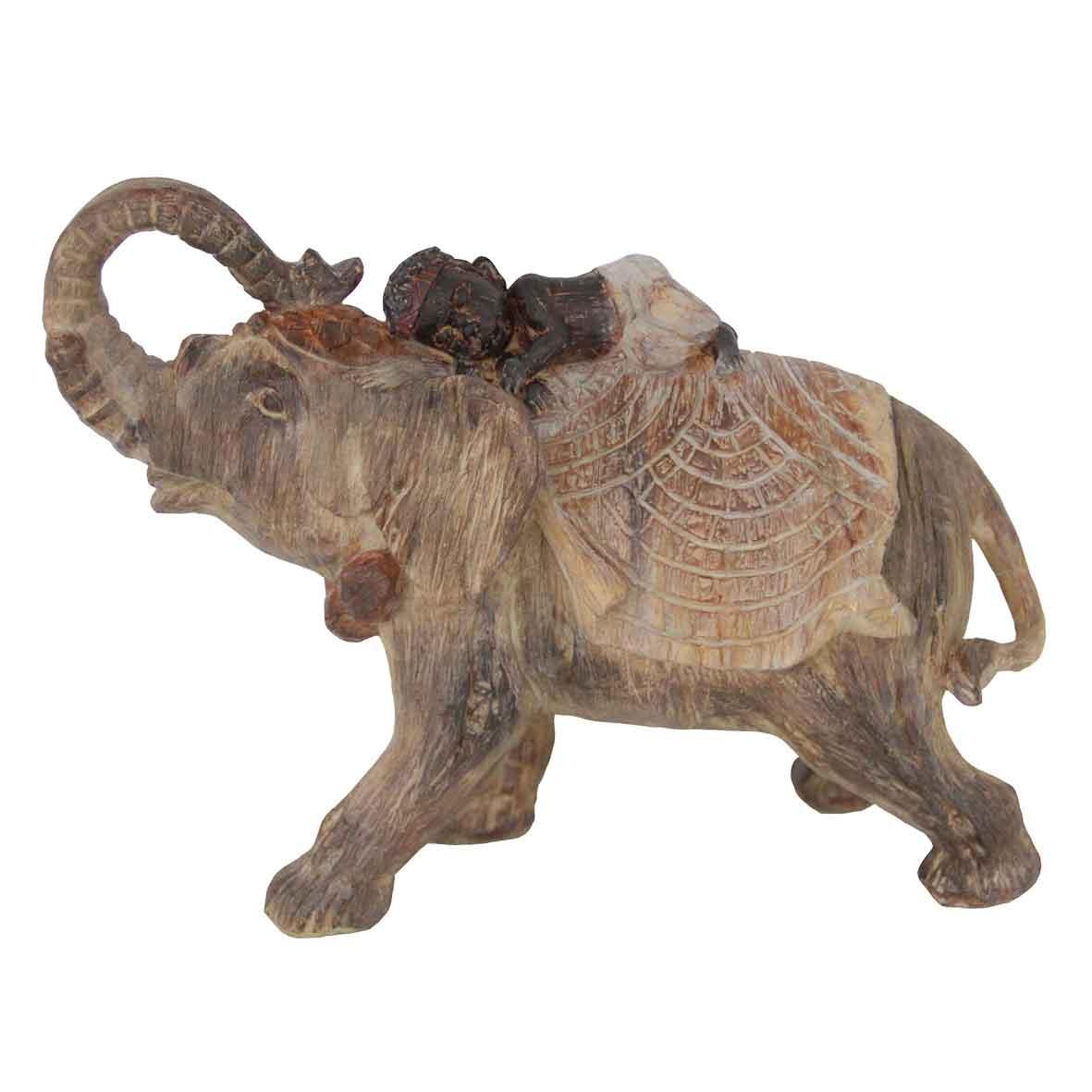 Adorno Elefante e Criança em Resina