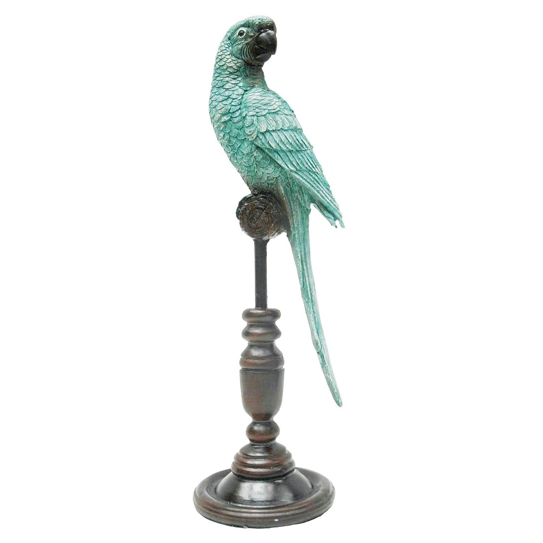 Adorno Pássaro em Resina e Metal Verde Água Pequeno