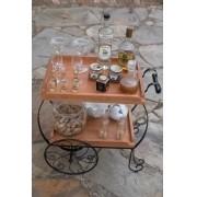 Carrinho de chá pequeno ferro madeira rustico artesanal
