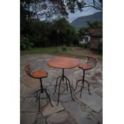 Conjunto bistro 2 cadeiras encosto baixo rustico artesanal