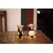 Dupla de pinguins caipira em cabaça rustico artesanal