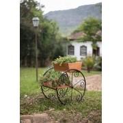 Floreira de madeira para jardim com rodas ferro e madeira rustico artesanal