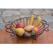 Fruteira de mesa redonda grande rustico artesanal ferro e madeira