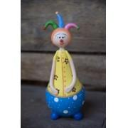 Palhaço malabarista colorido em cabaça rustico artesanal