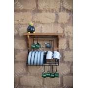 Paneleiro escorredor 40cm ferro madeira rustico artesanal