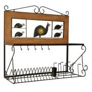 Paneleiro escorredor 80cm ferro madeira rustico artesanal