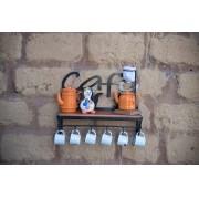 Prateleira porta cafe desenho rustico artesanal ferro madeira