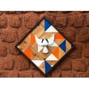 Quadro Decorativo De Mosaico Divino Rustico Artesanal De Madeira