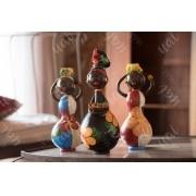 Trio de bonecas africanas em cabaça rústico artesanal