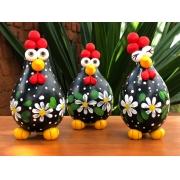 Trio de galinhas decorativas angola - Margarida