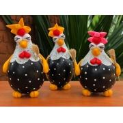 Trio de galinhas faxineiras em cabaça