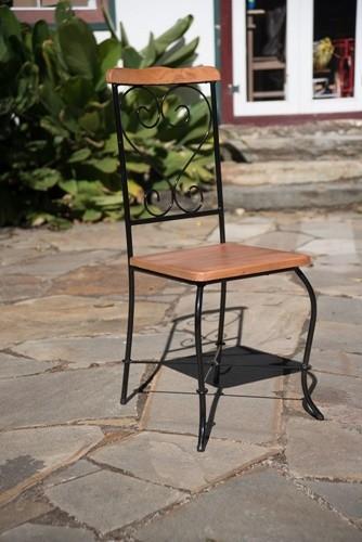 Cadeira quadrada rustica artesanal ferro e madeira