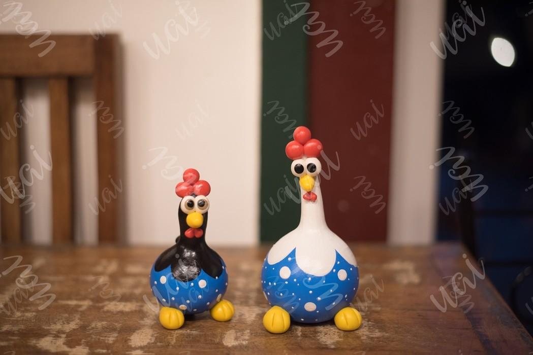 Casal de galinhas decorativas em cabaça rustico artesanal