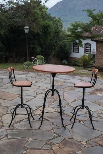 Conjunto bistro 2 cadeiras ferro madeira rustico artesanal